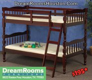 BRAND NEW SOLID WOOD Cherry Bunk Bed! Dream Rooms Furniture! in Bellaire, Texas