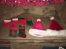 Christmas stockings and Santa hats in Joliet, Illinois