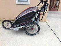 Double Jogging Stroller With Bike Trailer Attachment (Thule Chariot) in Okinawa, Japan