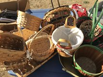 16 assorted wicker and metal baskets. Variety of sizes. in Riverside, California