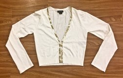 NEW White/ Off White Sequin Embellished Sparkle Top. Size L. in Okinawa, Japan