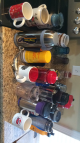 Random glasses, coffee cups, and water bottles in Fort Campbell, Kentucky