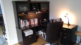 Office desk set with top shelf, cabinets and printer chamber in Elgin, Illinois