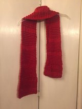 Red hand knit scarf in Roseville, California