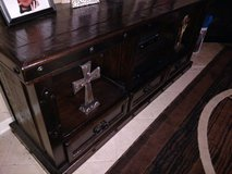Rustic TV Console Center Sold Wood Wrought Iron in Kingwood, Texas