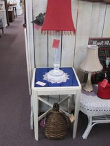 Vintage End Table With Blue Glass in Camp Lejeune, North Carolina