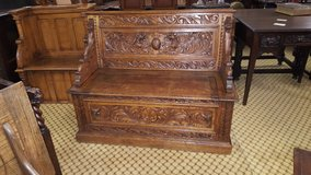 Carved Oak Settle with Dragons Free delivery others available in Lakenheath, UK