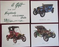 Cities Service Dealer (now CITGO) Antique Car Prints Gift Set 1950s in Glendale Heights, Illinois