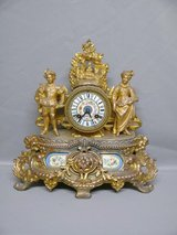 french Clock with men and woman around 1880, Original fireproofing in Ramstein, Germany