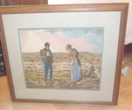 "Beautiful wife and husband praying in field 28"" x 31"" framed  needle point picture in Alamogordo, New Mexico"