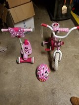 Minnie toddler bike, scooter and helmet in Fort Drum, New York