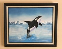 """Original framed oil painting """"Whale of a Time"""" in Lockport, Illinois"""