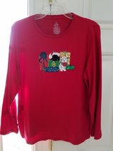 Cute Christmas Top Size 1X (16W) Embroidered  With Bell Embellishments in Plainfield, Illinois