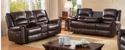 Brown Leather Reclining Sofa & Loveseat in CyFair, Texas