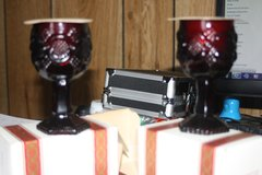 Cape Cod Ruby Red Wine Goblets w/bayberry candles set of 2 in Rolla, Missouri
