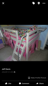 Raised children's bed with ladder and slide in Dover AFB, Delaware