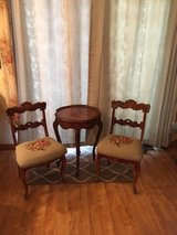 Italian inlay table two antique chairs in Fairfield, California