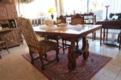 beautiful oak table with wrought iron ornaments in Wiesbaden, GE