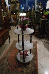 gorgeous Art Nouveau plant stand / shelves with white Carrara marble in Wiesbaden, GE