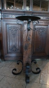 big candle holder with 100 year old wood beam and hand wrought stand in Wiesbaden, GE