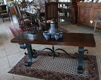 rustic coffee table with thick oak table board and hand wrought stand in Wiesbaden, GE