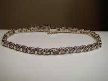 """DIAMOND ACCENTED STERLING SILVER TEXTURED LINK BRACELET 7.5"""" in Camp Lejeune, North Carolina"""