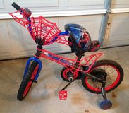 "Toddler Boy 16"" Inch Webbed Frame Spider-Man Bike with Spiderman helmet in Macon, Georgia"