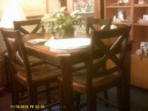 Bar height wood table 4 chairs in San Diego, California