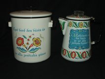 Vintage Berggren-Trayner Swedish Enamel Cookware Coffee Pot & Steamer in Lockport, Illinois