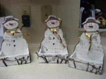 3 Snowman Distressed Christmas Candy holders Decorations in Kingwood, Texas