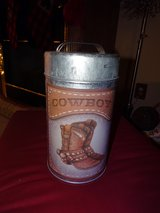 Cowboy Tin Container with Lid in Naperville, Illinois