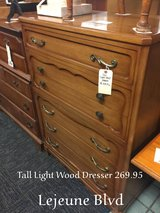 Tall Light Wood Dresser in Camp Lejeune, North Carolina