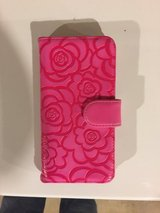 Pink flower foux leather iPhone 6 Plus wallet case with magnetic clasp in Batavia, Illinois