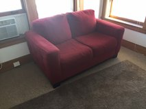 Red Suede Loveseat in Glendale Heights, Illinois