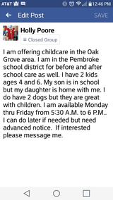 childcare in bookoo, US