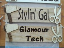 Wood Burned Hair Stylist Sign Glamour Tech in 29 Palms, California