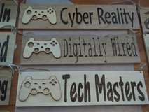 Wood Burned Video Game Signs in 29 Palms, California