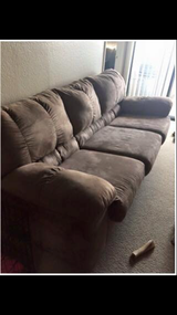 Tan suede couch in San Diego, California