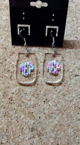 Monogrammed earrings in Byron, Georgia