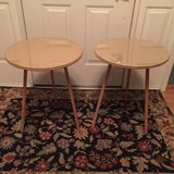 (2) Round Wooden Tables w/ (2) Burnt Orange Round Tableclothes in Lockport, Illinois