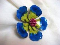 "NWOT Flower Floral Large 3"" Blue Green Pink Metal Brooch Pin in Kingwood, Texas"