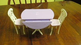 Barbie Doll Sized Round Lavender Dining Kitchen Dropside Table with 2 Matching Chairs in Macon, Georgia