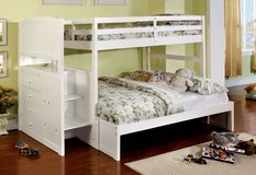 WHITE TWIN OVER FULL TRUNDLE BED FREE DELIVERY in Huntington Beach, California