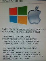 PC, Laptop, and Mac virus removal, lost password and operating system cds and repair in Savannah, Georgia