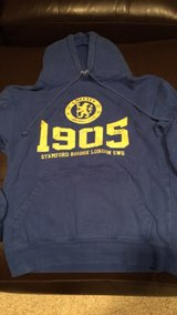 Chelsea soccer hoodie adult small/youth xl in Plainfield, Illinois