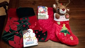 Christmas stocking and kids books in Elgin, Illinois