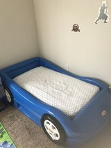 Blue car bed with mattress and car bedding in Lake Elsinore, California
