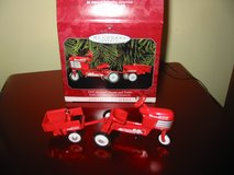 1955 Murray pedal tractor and wagon Hallmark ornaments, in orig box in Lockport, Illinois
