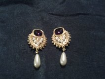 Purple/White Tear Drop Earrings in Eglin AFB, Florida