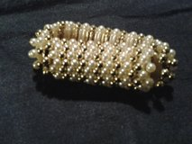 Gold & White Beaded Stretch Bracelet in Eglin AFB, Florida